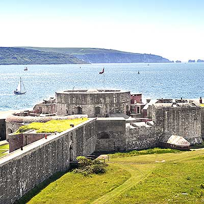 Hurst Castle looking over to  the  Isle of Wight