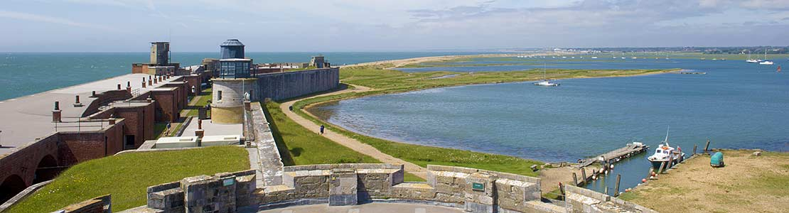 Hurst Castle Tudor keep looking to Keyhaven